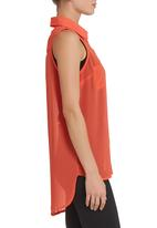 edge - Sleeveless blouse in coral