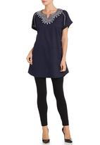 YARRA TRAIL - Navy embroidered tunic