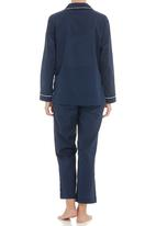 Nocturnal Affair. - Square collar ladies pyjama set Blue