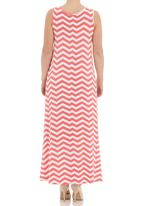 Me-a-mama - Chevron sleeveless swing dress in coral