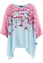 Cheryl Arthur - Flamingo print tunic with knit back