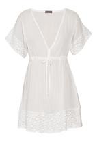 Tashkaya - Cream kaftan top with lace White