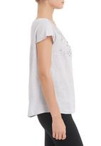 Jenja - Embroided linen top Grey