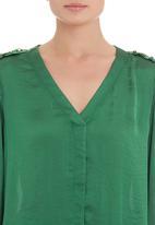 edit - Gold-trim blouse in green