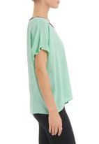STYLE REPUBLIC - Pleather-trim top in green