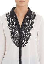 G Couture - Blouse with pleather trim