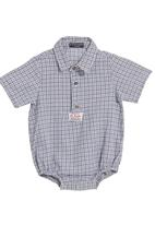 Sticky Fudge - Checked onesie with button detail