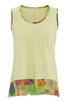 Ilan - Burnout cami with floral band Green