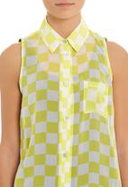 Tashkaya - Racer-check sleeveless blouse