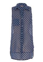 Tashkaya - Sleeveless polka dot blouse