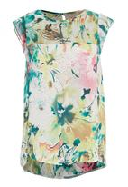 Yes - Printed sleeveless blouse in green