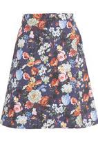 AMANDA LAIRD CHERRY - Floral denim skirt