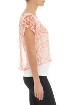 Tashkaya - Chiffon and knit layered top