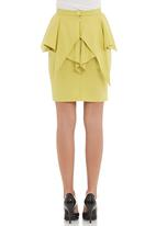 Leigh Schubert - Peplum pencil skirt in green