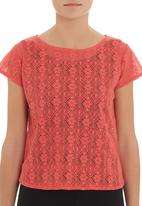 Mishah - Crochet top with zip detail Coral