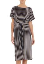 AMANDA LAIRD CHERRY - Navy and taupe striped tunic