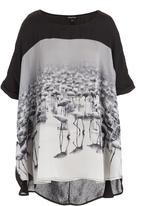 Cheryl Arthur - Flamingo print top in black and white
