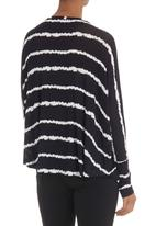 Tashkaya - Navy and white tie-dye batwing top