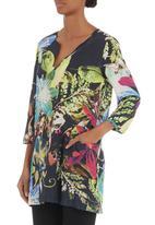 Jenja - Tropical-print tunic Mid Green