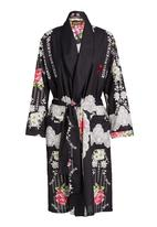 Daddy and Fox - Printed dressing gown Black