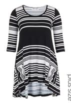 Megalo - Striped swing top Black/White