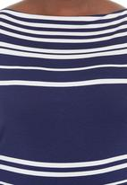Megalo - Boat-neck top Blue/White