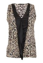 G Couture - Top with inset Animal Print