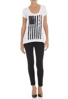 SASS - Independence sequin flag knit White
