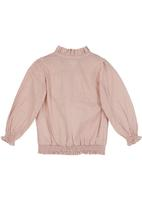 Sticky Fudge - Detailed blouse with ruched waistband Mid Pink