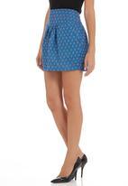 adam&eve; - Printed tulip skirt Mid Blue