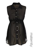 Label of Love - Sleeveless chiffon blouse Black