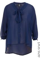 ME - Pussy-bow blouse Navy