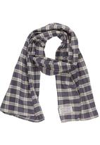 Sticky Fudge - Checked scarf Mid Blue