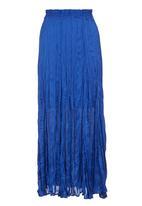 AMANDA LAIRD CHERRY - Hammered satin maxi skirt Blue (mid blue)