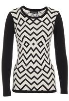 G Couture - Zigzag knit top Black/White