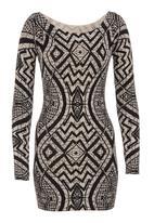 Revenge - Printed knit tunic Brown