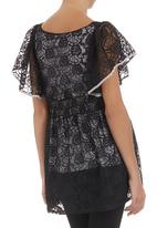 edit - Lace tunic with butterfly sleeves Black