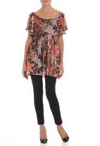 edit - Mesh tunic with butterfly sleeves Multi-colour