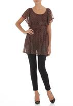 edit - Mesh tunic with butterfly sleeves Red