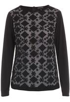 G Couture - Mesh Top with Sleeves Black