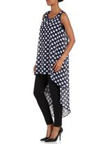 MICHELLE LUDEK - Polka-dot chiffon top with dipped back Blue/White