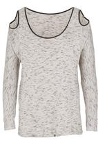 Slick - T-shirt with leather trim Stone/Beige