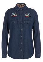 BellField - Denim shirt with bird embroidery Dark blue