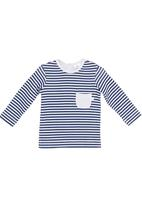 Just chillin - Striped long-sleeved T-shirt Blue/White