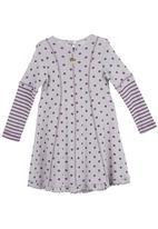 Just chillin - Polka-dot dress with panels Grey