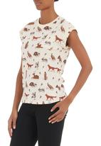 BellField - Animal-print T-shirt Stone/Beige