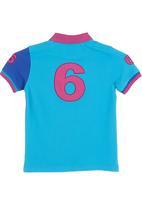 466/64 - Colourblock golf T-shirt with print Mid Blue