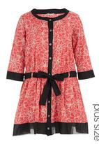 Ilan - Floral tunic dress with dropped waist Coral