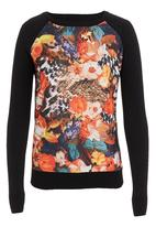 G Couture - Printed front raglan top Multi-colour