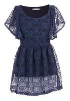 edit - Lace tunic with butterfly sleeves Dark Blue